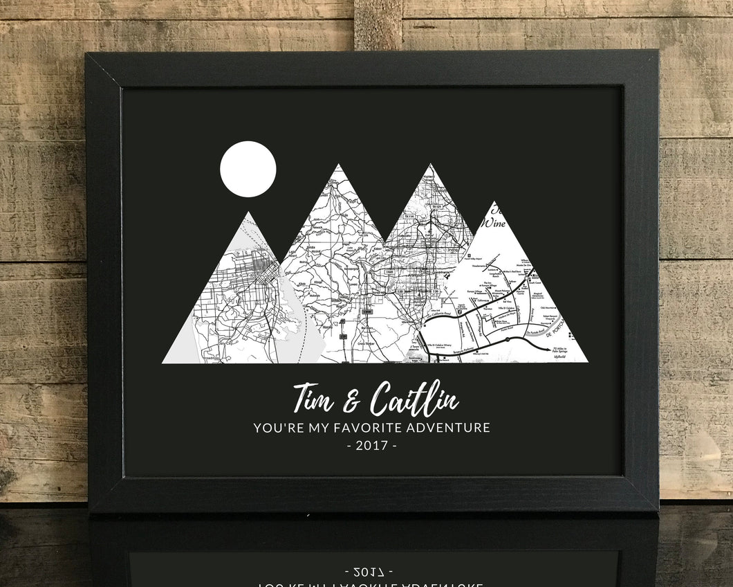 You're My Favorite Adventure Print, Custom Black & White, 4 Mountains Map Art, Anniversary Gift, Personalized Wedding Print, Gift for Couple