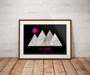You're My Favorite Adventure Print, Custom Black&HotPink, 4 Mountains Map Art, Anniversary Gift, Personalized Wedding Print, Gift for Couple
