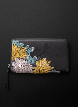 Lotus XL Zipped Wallet - Licorice - Belinda Pieris