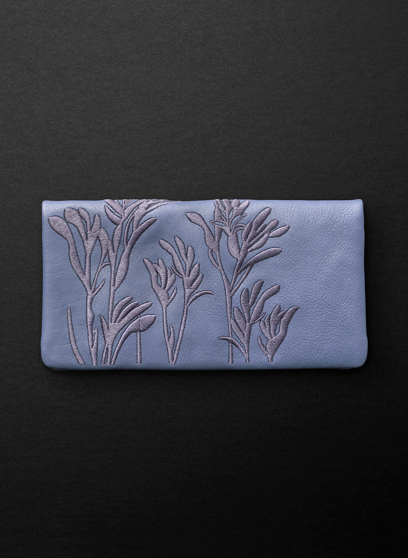 Kangaroo Paw Slimline Wallet - Blue Willow - Belinda Pieris