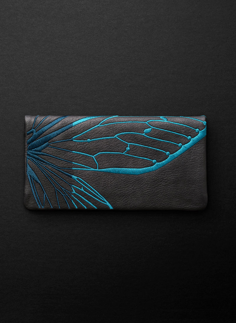 Papillon Slimline Wallet - Licorice/Teal - Belinda Pieris