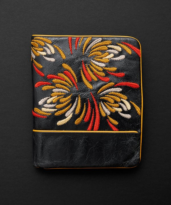 Waratah Embroidered Wallet - Licorice/Gold