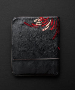 Waratah Embroidered Wallet - Licorice Crimson