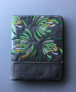 Waratah Embroidered Wallet - Greens