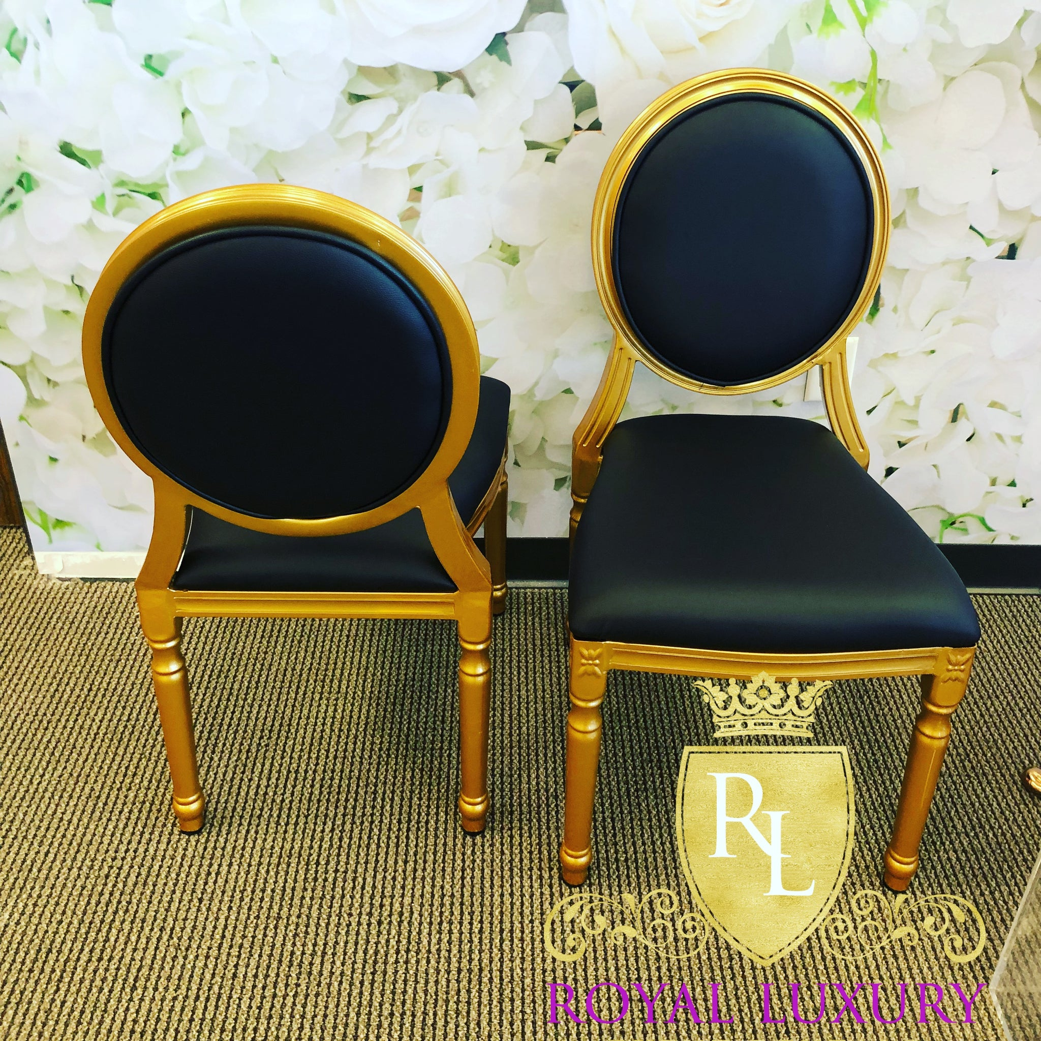 King Louis XVI Dining Chair Gold With Black Cushion Aluminum Frame