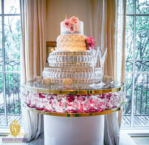 Dramatic Round Gold Crystal Cake Table With Glass Top 3 Foot Round Royal Luxury