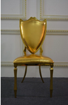Royal Shield Sweetheart Chair, Gold Chair with Golden Seat Cushion, Stainless Steel Frame