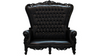 Black Throne Loveseat with Black Leather
