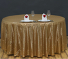 132 Inch Round Sequin Tablecloth in Gold, Champagne, White, or Blush