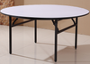 5 Foot Round Dining Table with Elegant White Leather Cushioned Top