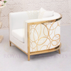 Lounge Chair with Gold Design and White Cushion