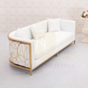 7-Foot Lounge Sofa with Gold Design and White Cushion