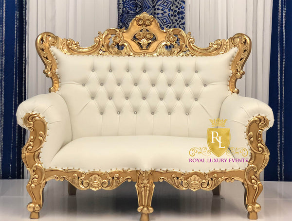 Royal Gold Low Back Throne Loveseat With Ivory Leather