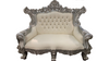 Royal Silver Low Back Throne Loveseat with Ivory Leather