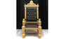 Black and Gold King Throne Chair with Black Leather