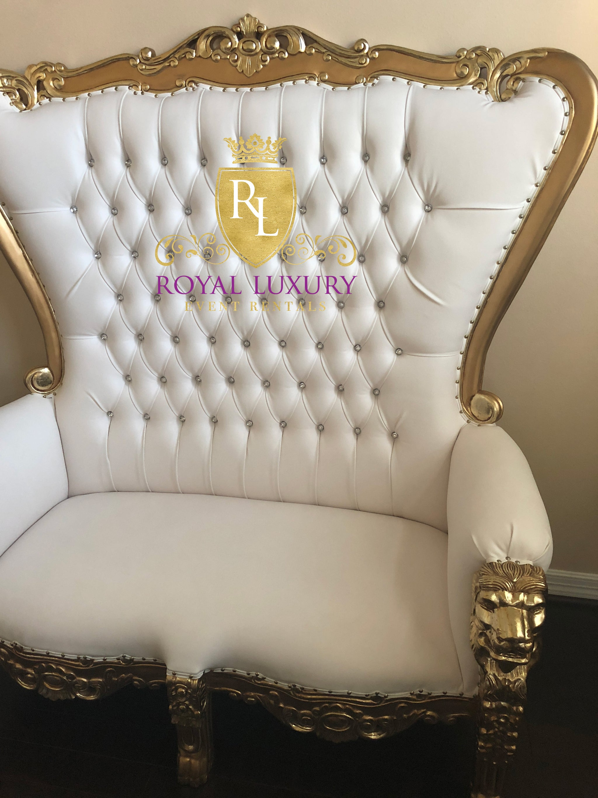 Royal Lion Gold Throne Loveseat With Ivory Leather Royal