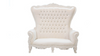 White Throne Loveseat with White Leather