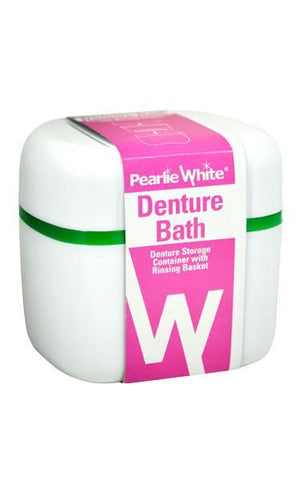 Denture Bath | Denture Container With Rinsing Basket - Pearlie White