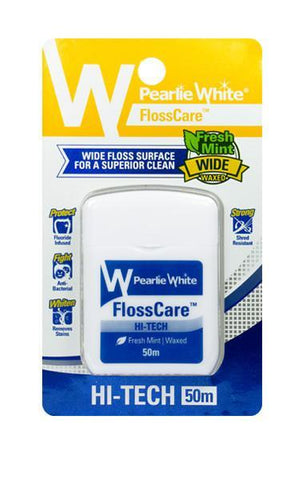 FlossCare Hi-Tech | Waxed Mint Floss 50m - Pearlie White