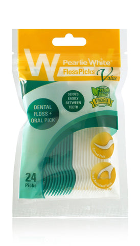 FlossPicks | Value 2-IN-1 Basic Flosser 24pcs - Pearlie White
