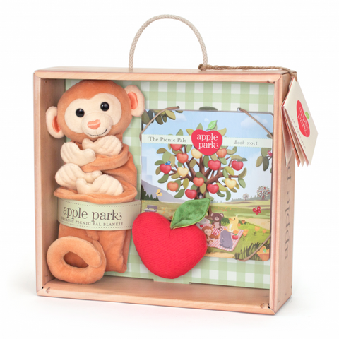 Apple Park Blankie, Book and Rattle Gift Crate, Monkey