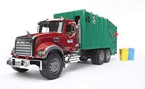 Bruder Toys MACK Granite Garbage Truck - 1/16 Scale Realistic, Functional Toy Garbage Collection Veh