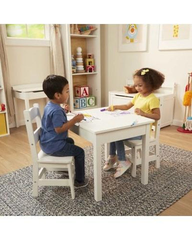 WOODEN TABLE & CHAIRS SET- WHITE