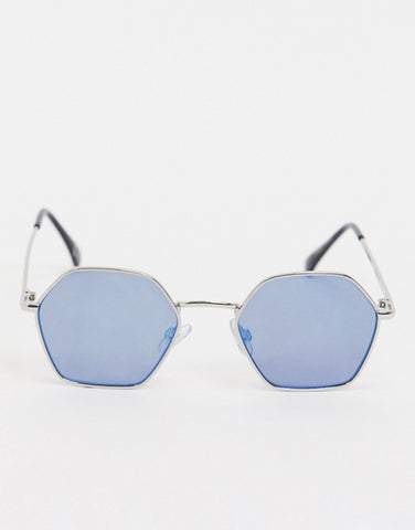 Vans Right Angle Sunglasses - Silver/Blue Mirror