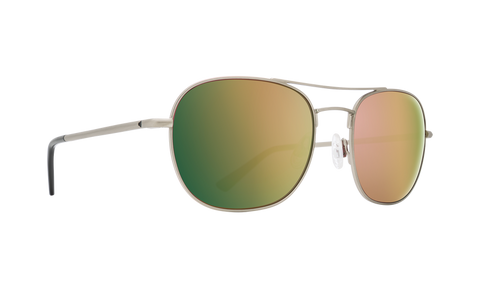 Spy Pemberton Sunglasses - Antique Silver - HD Plus Rose Polar with Green Gold Spectra Mirror