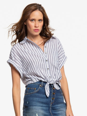 Roxy W Full Time Dream Short Sleeve Tie-Front Shirt