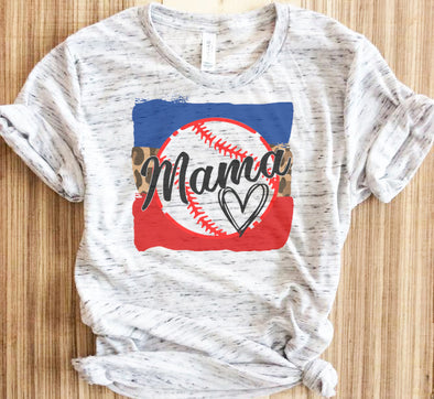 Baseball Mama Heart Shirt
