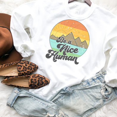 Retro Be A Nice Human Sweatshirt