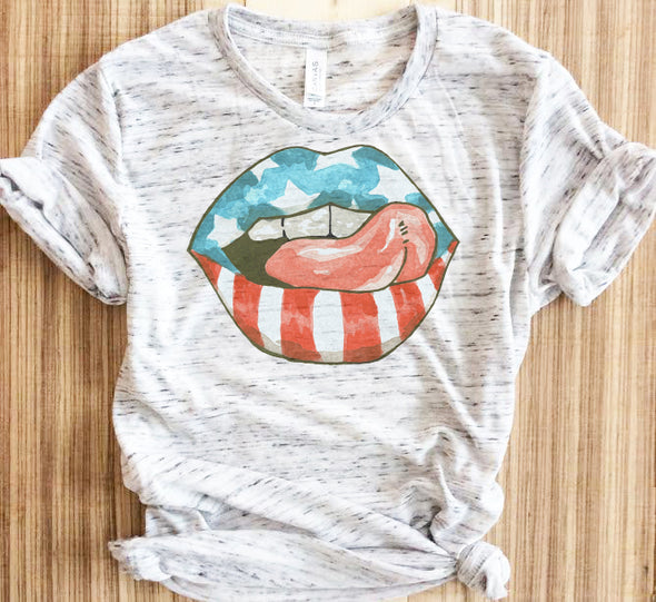 Womens 4th Of July Flag Lips Shirt