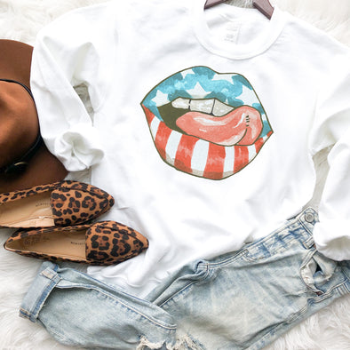 American Flag Lips Sweatshirt