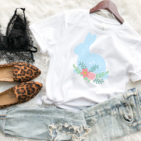 Distressed Floral Bunny Shirt