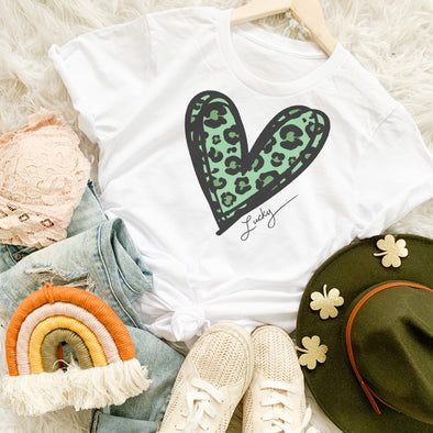 Leopard Saint Patrick's Day Heart Shirt