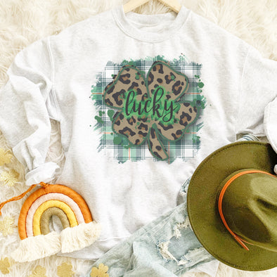 Lucky Plaid Shamrock Sweatshirt