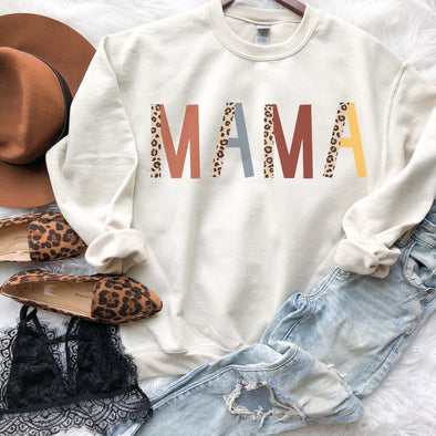 Mama Leopard Color Sweatshirt