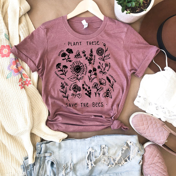 Plant These Save The Bees Wildflowers Drawing T Shirt
