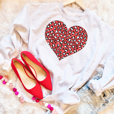 Red Leopard Heart Valentines Day Sweatshirt