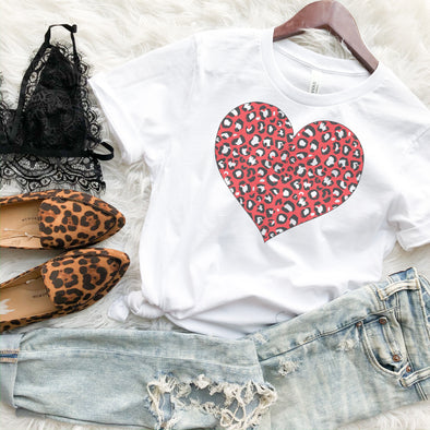 Red Leopard Heart Valentine Shirt