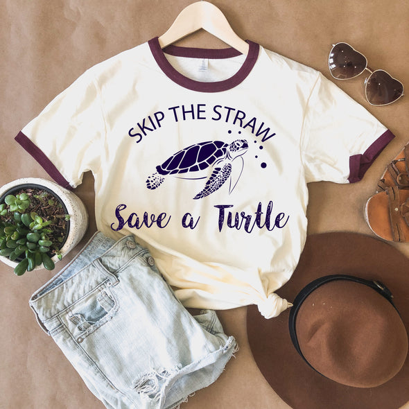 Skip The Straw Save A Turtle T Shirt