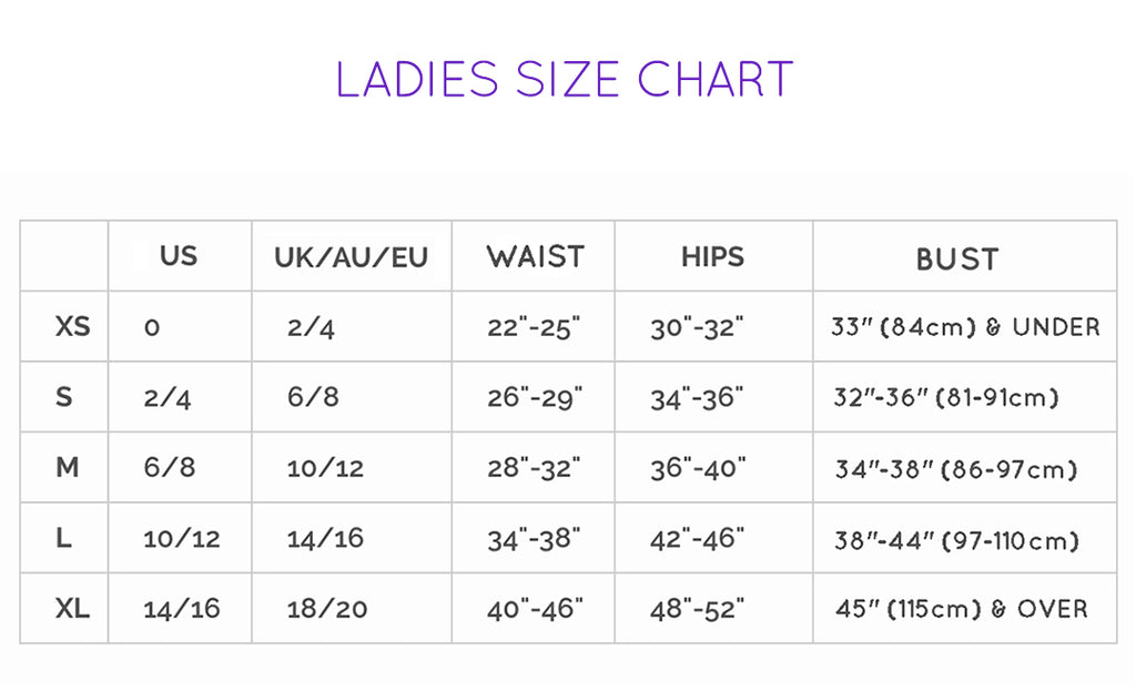 Sea Dragon Ladies Size Chart