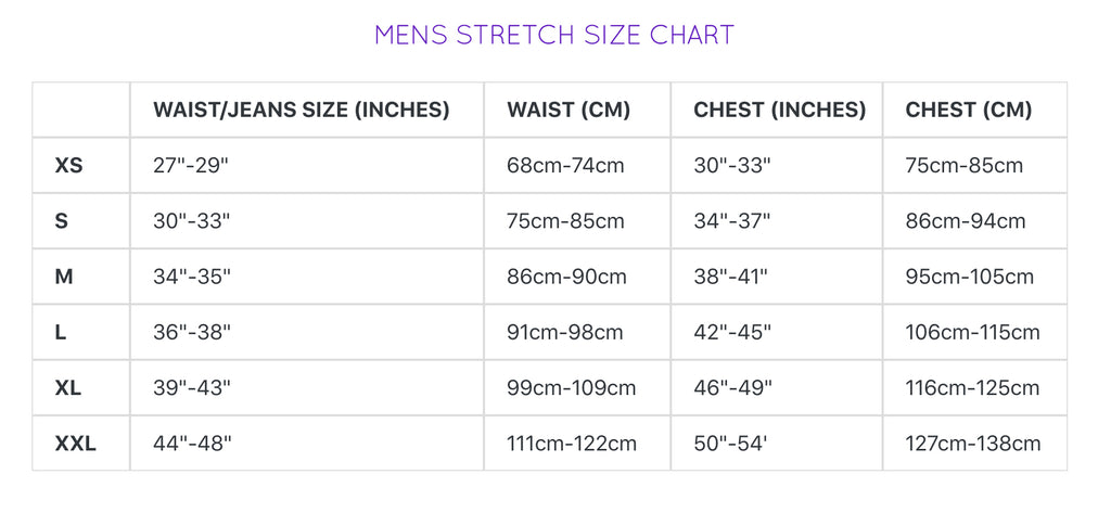 Sea Dragon Men's Size Chart