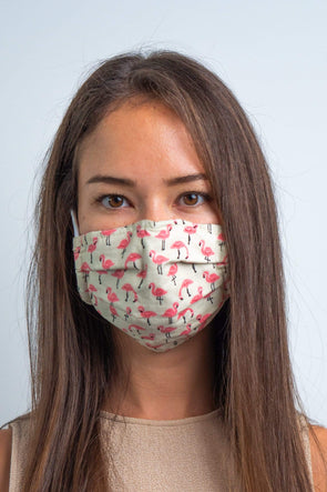 Flamingo a Go-Go 3ply Pleated Cotton Face Mask