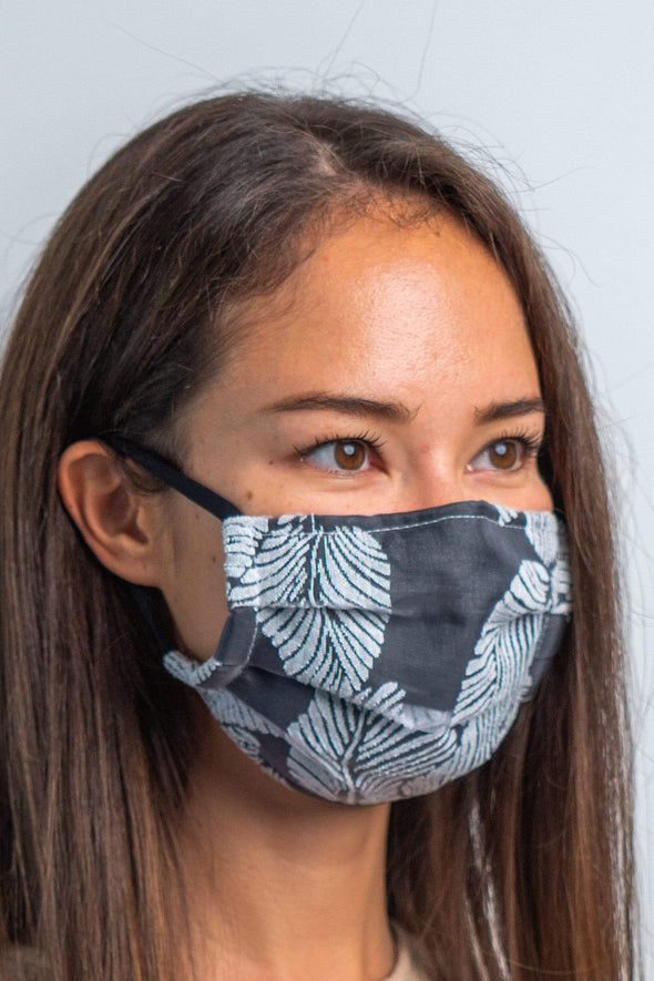 Ash Gray Tropicola 3ply Pleated Cotton Face Mask
