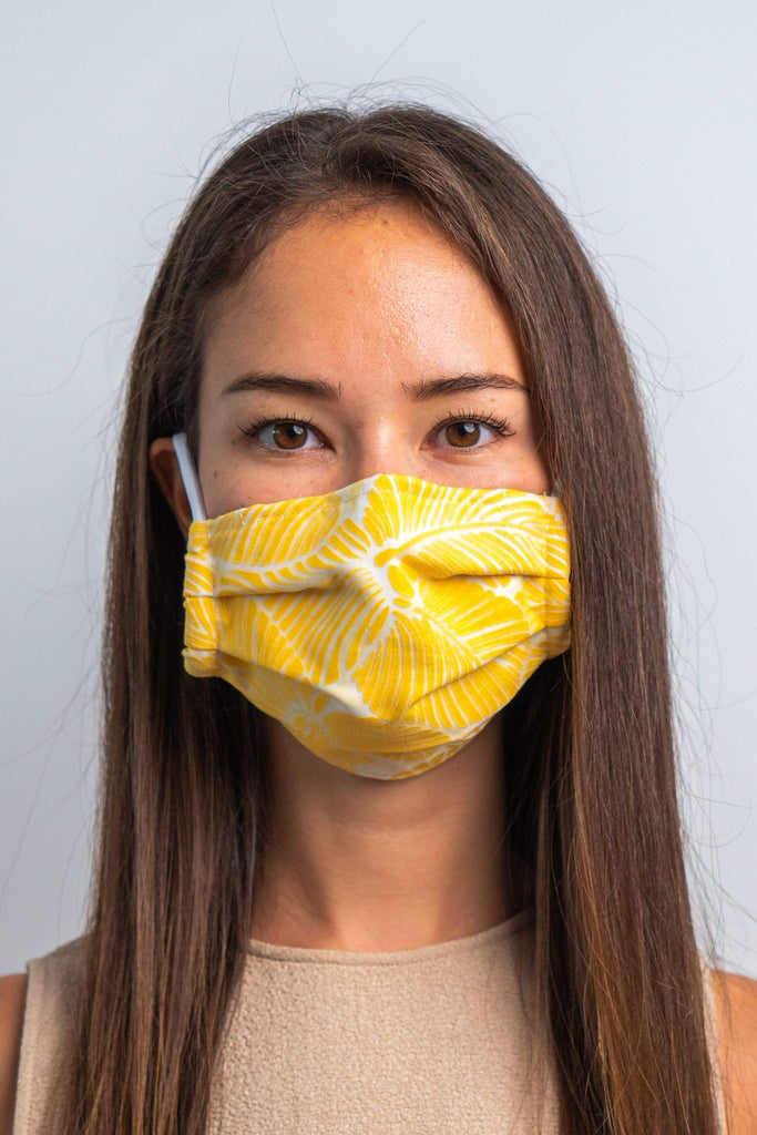 Yellow Tropicola 3ply Pleated Cotton Face Mask Masks UNIFY