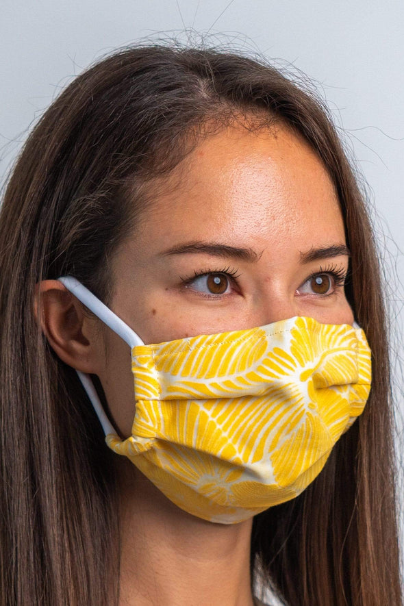 Yellow Tropicola 3ply Pleated Cotton Face Mask