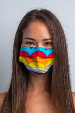Over The Rainbow 3ply Pleated Cotton Face Mask