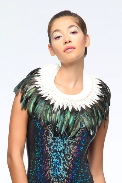 Iridescent-Black Feather Collar